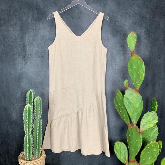 Garnet Hill Dresses & Skirts - NEW Garnet Hill 100% Linen Ruffle Hem Tank Dress 6